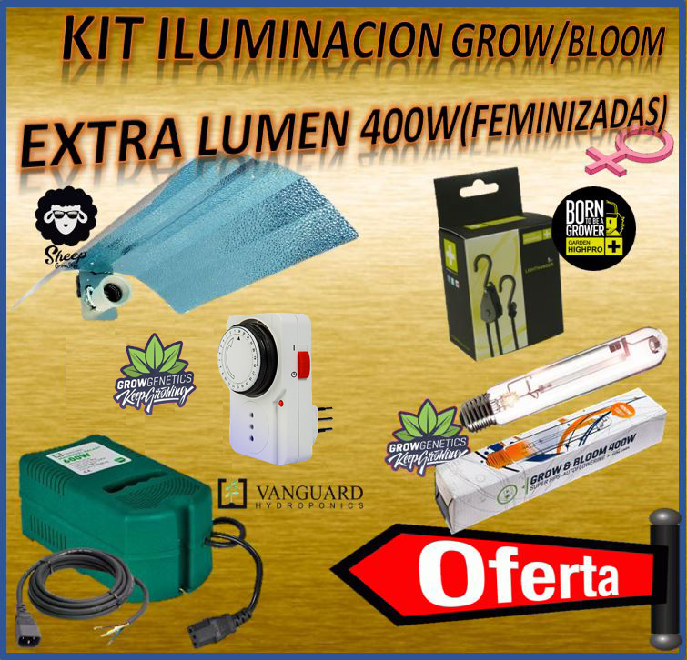 KIT ILUMINACION GROW/BLOOM EXTRA LUMEN 400 W (FEMINIZADAS) - SHEEP
